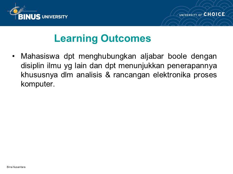 Bina Nusantara Learning Outcomes Mahasiswa dpt menghubungkan aljabar boole dengan disiplin ilmu yg lain dan dpt menunjukkan penerapannya khususnya dlm analisis & rancangan elektronika proses komputer.