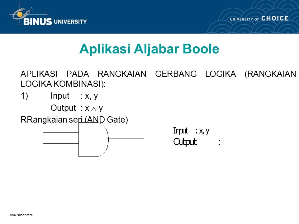Bina Nusantara Pengertian Suatu rangkaian logika dibangun oleh gerbang-gerbang logika antara lain: gerbang and, gerbang or dan suatu inverter yang memenuhi logika pada aljabar boole.