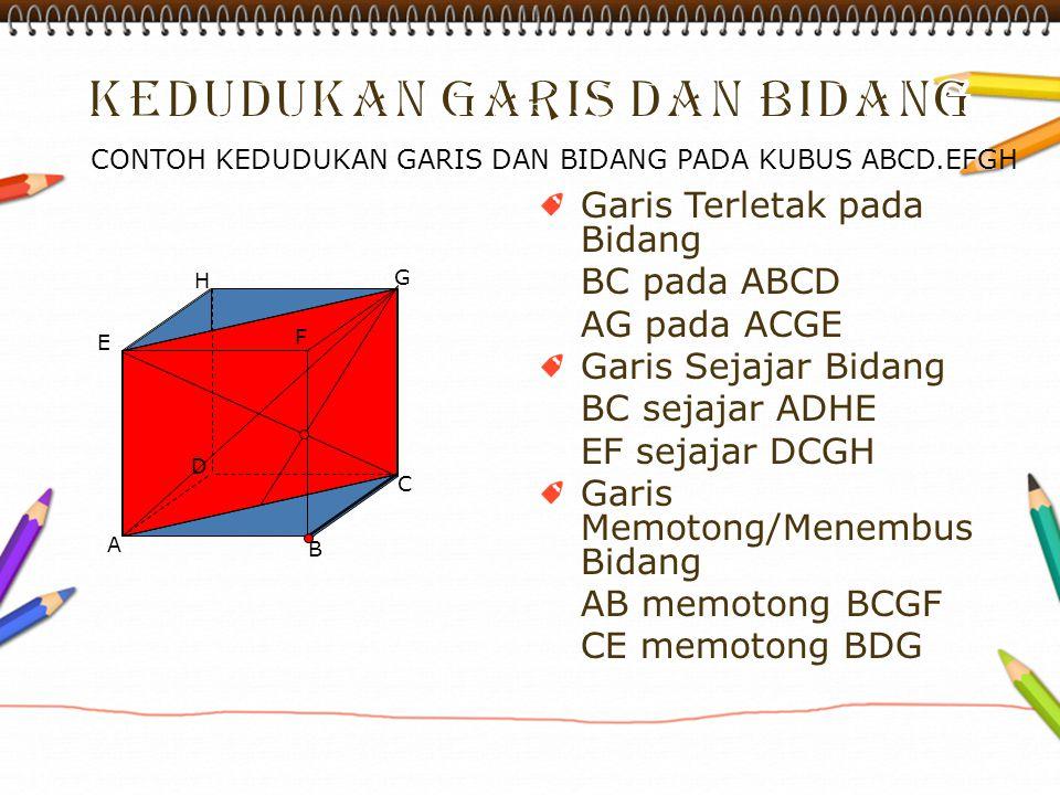 Garis Terletak pada Bidang BC pada ABCD AG pada ACGE Garis Sejajar Bidang BC sejajar ADHE EF sejajar DCGH Garis Memotong/Menembus Bidang AB memotong B