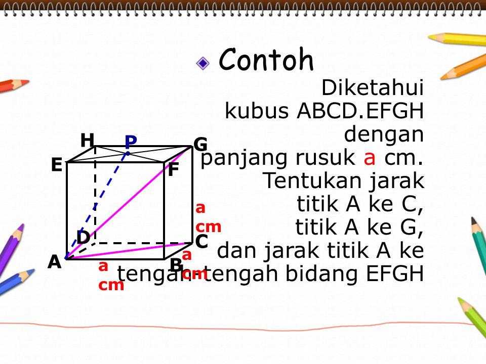Contoh Diketahui kubus ABCD.EFGH dengan panjang rusuk a cm. Tentukan jarak titik A ke C, titik A ke G, dan jarak titik A ke tengah-tengah bidang EFGH