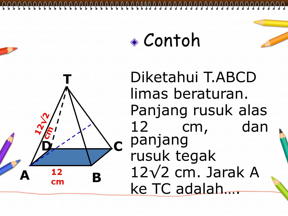 Contoh Diketahui T.ABCD limas beraturan. Panjang rusuk alas 12 cm, dan panjang rusuk tegak 12√2 cm. Jarak A ke TC adalah…. 12 cm 12√2 cm T C A B D