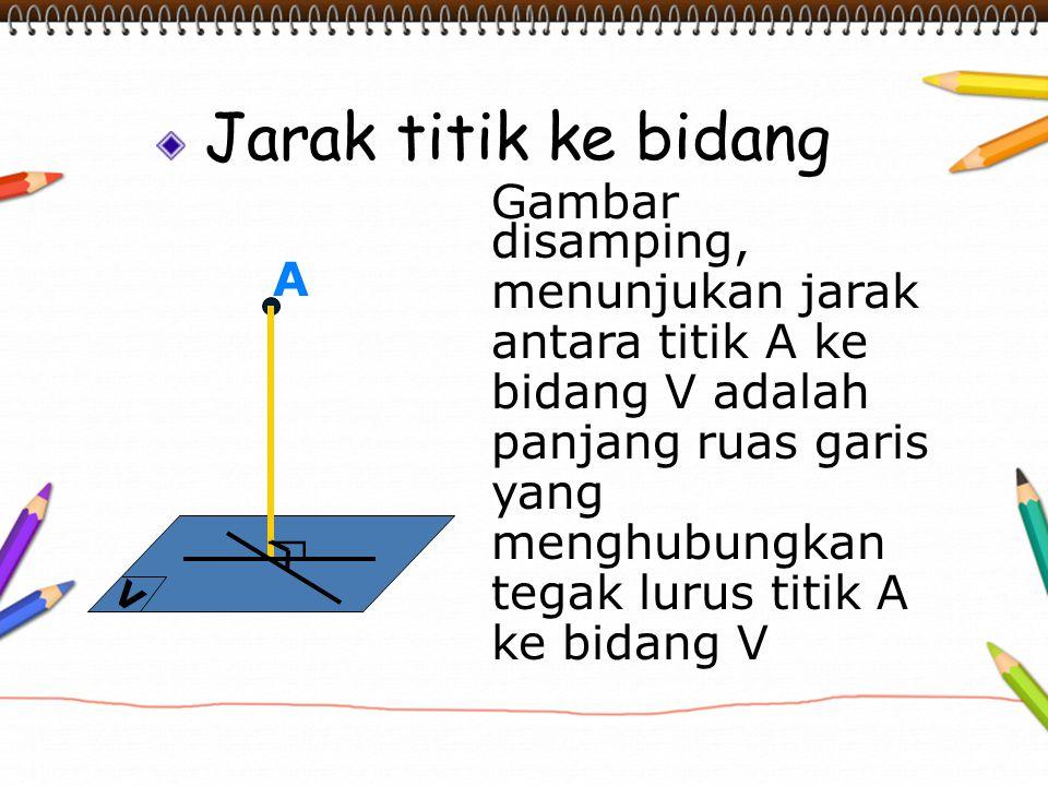 Jarak titik ke bidang Gambar disamping, menunjukan jarak antara titik A ke bidang V adalah panjang ruas garis yang menghubungkan tegak lurus titik A k