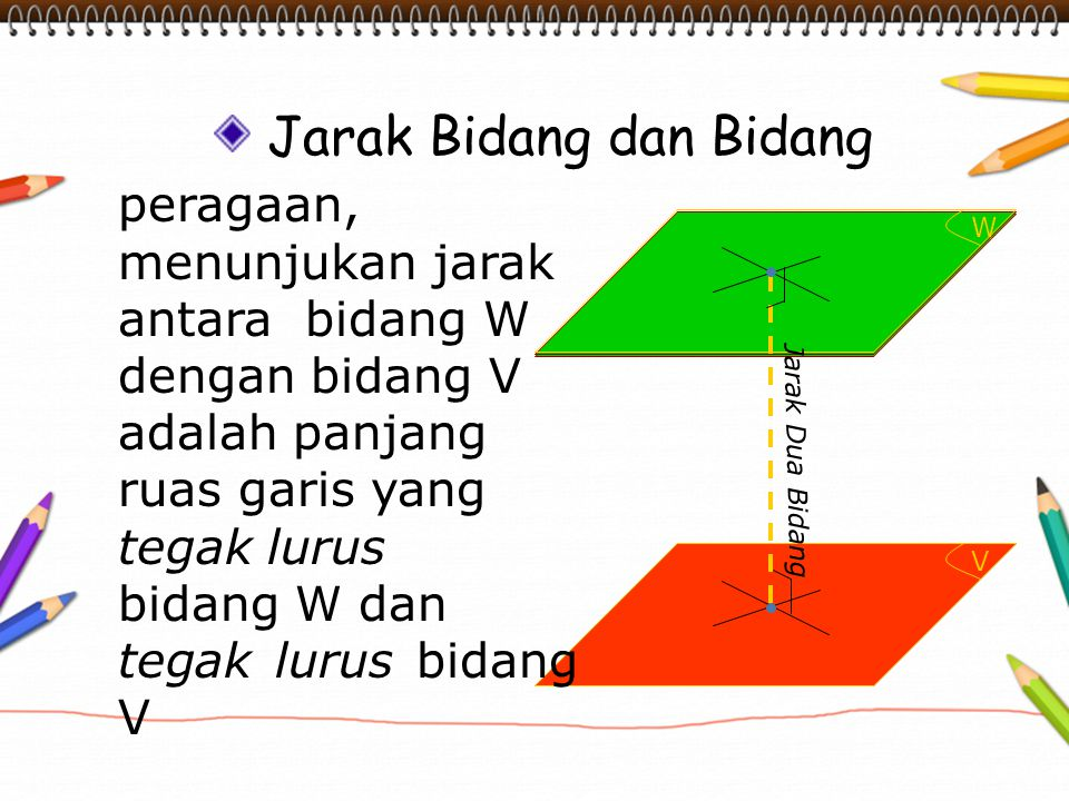 V W Jarak Bidang dan Bidang peragaan, menunjukan jarak antara bidang W dengan bidang V adalah panjang ruas garis yang tegak lurus bidang W dan tegak l