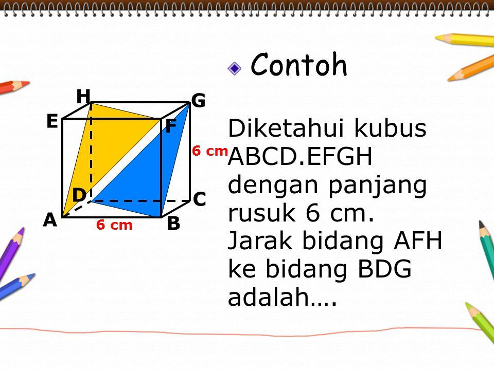 Contoh Diketahui kubus ABCD.EFGH dengan panjang rusuk 6 cm. Jarak bidang AFH ke bidang BDG adalah…. A B C D H E F G 6 cm