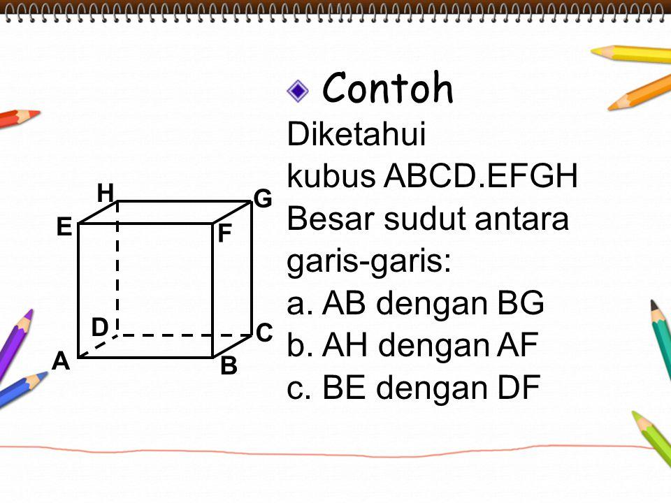 Contoh Diketahui kubus ABCD.EFGH Besar sudut antara garis-garis: a. AB dengan BG b. AH dengan AF c. BE dengan DF A B C D H E F G