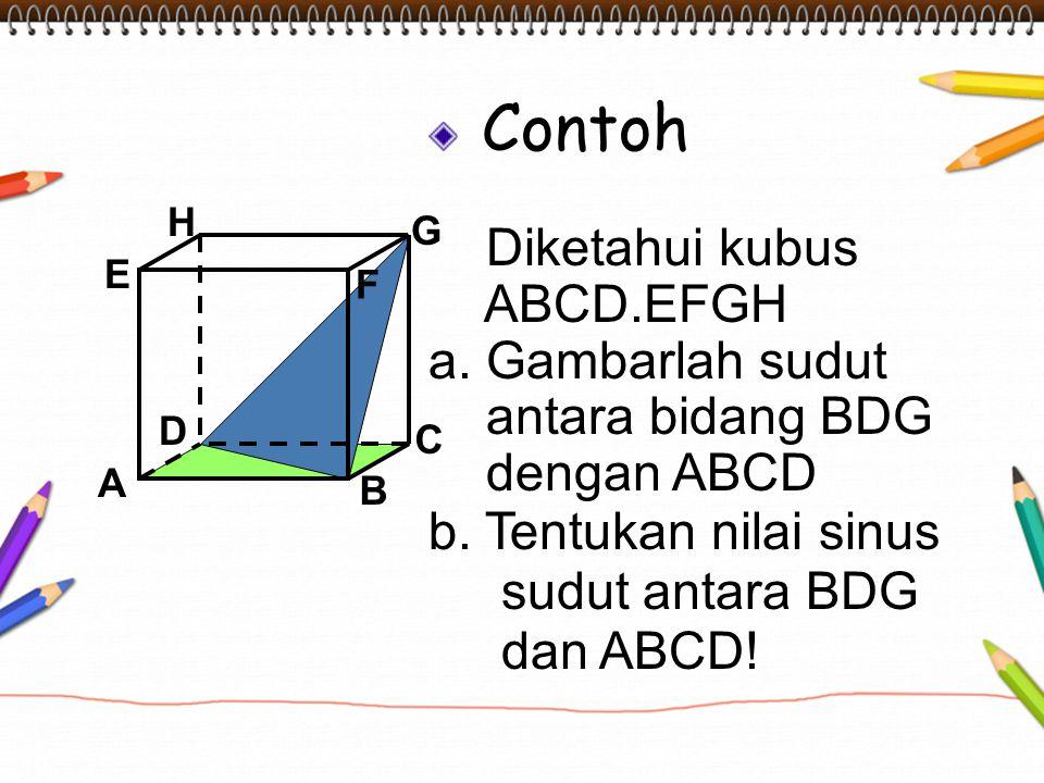 Contoh Diketahui kubus ABCD.EFGH a. Gambarlah sudut antara bidang BDG dengan ABCD b. Tentukan nilai sinus sudut antara BDG dan ABCD! A B C D H E F G