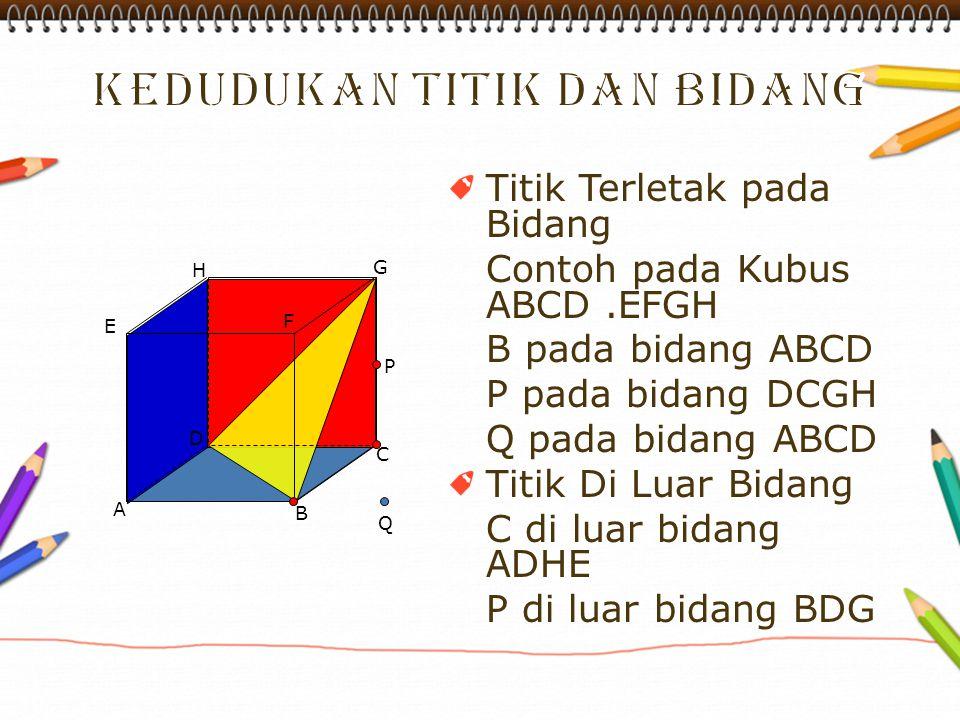 Titik Terletak pada Bidang Contoh pada Kubus ABCD.EFGH B pada bidang ABCD P pada bidang DCGH Q pada bidang ABCD Titik Di Luar Bidang C di luar bidang