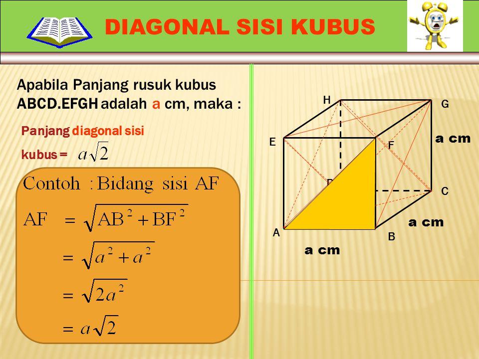 Panjang semua rusuk Kubus = 12 x a cm = 12a cm. Apabila Panjang rusuk kubus ABCD.EFGH adalah a cm, maka : A H G F E D C B a cm RUSUK KUBUS Ingat ! Kub