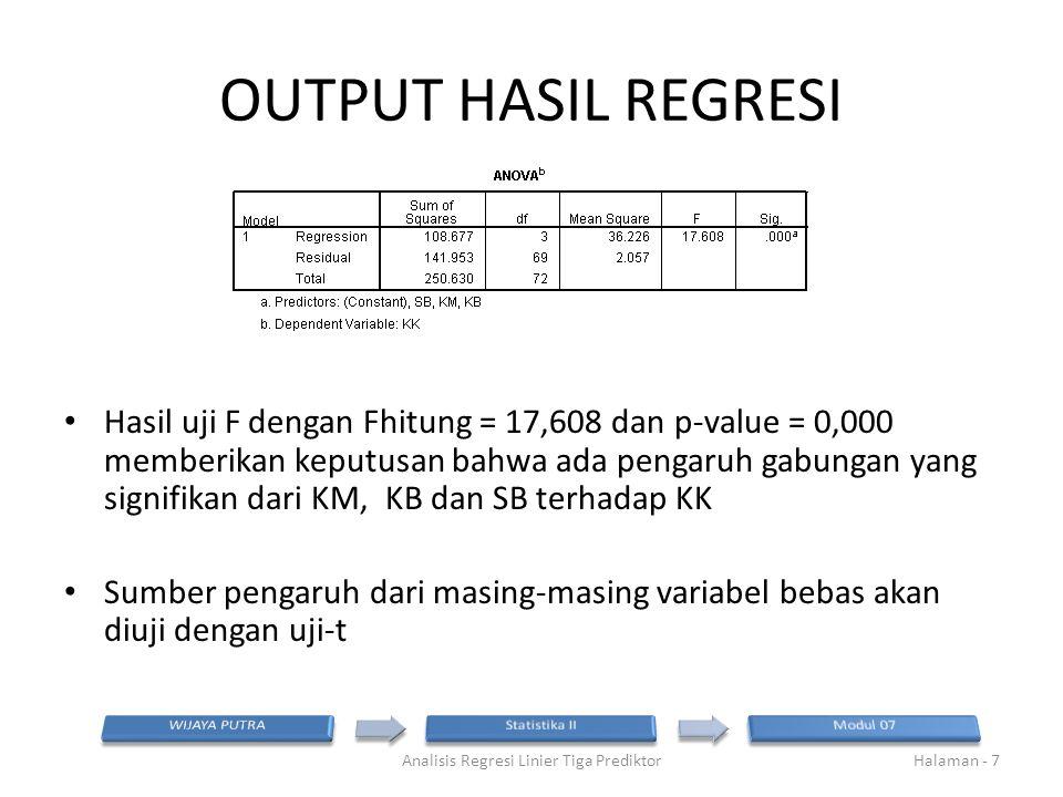 OUTPUT HASIL REGRESI Hasil uji F dengan Fhitung = 17,608 dan p-value = 0,000 memberikan keputusan bahwa ada pengaruh gabungan yang signifikan dari KM,