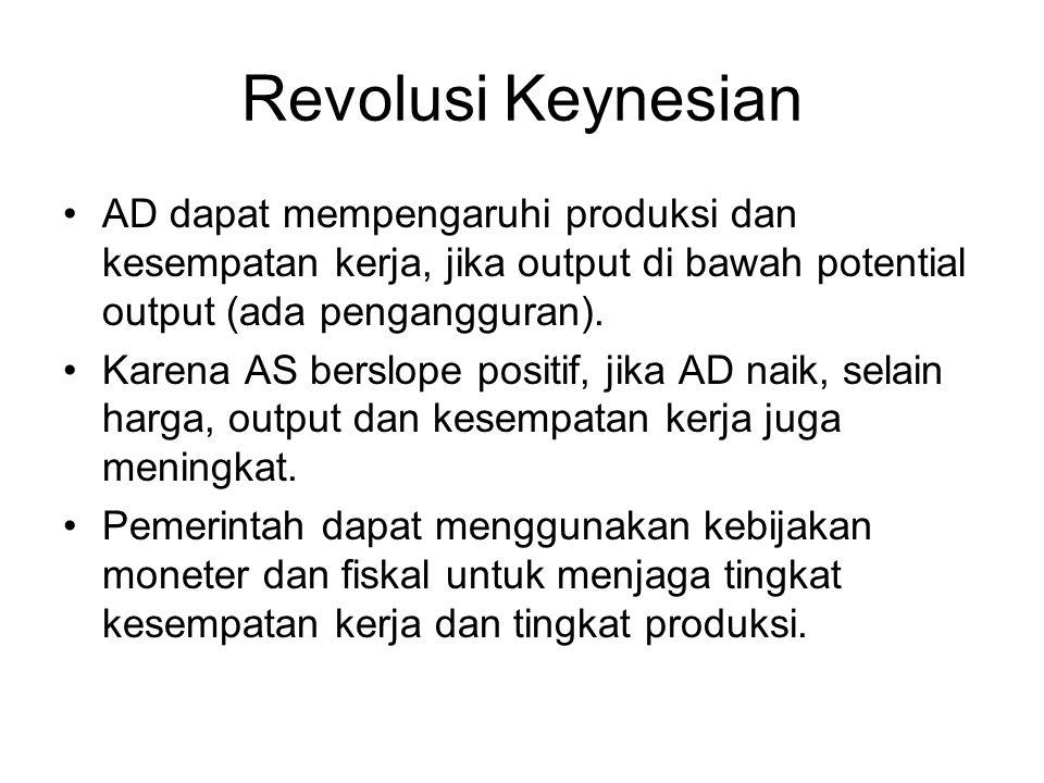 Revolusi Keynesian AD dapat mempengaruhi produksi dan kesempatan kerja, jika output di bawah potential output (ada pengangguran). Karena AS berslope p