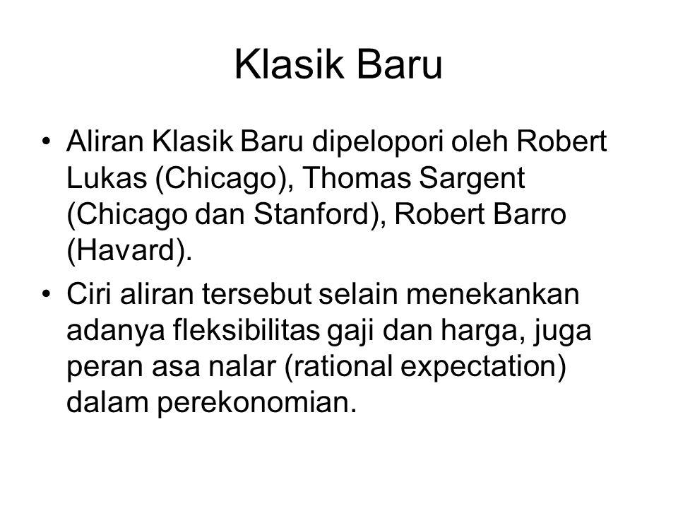 Klasik Baru Aliran Klasik Baru dipelopori oleh Robert Lukas (Chicago), Thomas Sargent (Chicago dan Stanford), Robert Barro (Havard). Ciri aliran terse