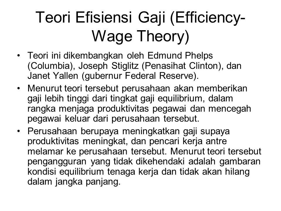 Teori Efisiensi Gaji (Efficiency- Wage Theory) Teori ini dikembangkan oleh Edmund Phelps (Columbia), Joseph Stiglitz (Penasihat Clinton), dan Janet Ya