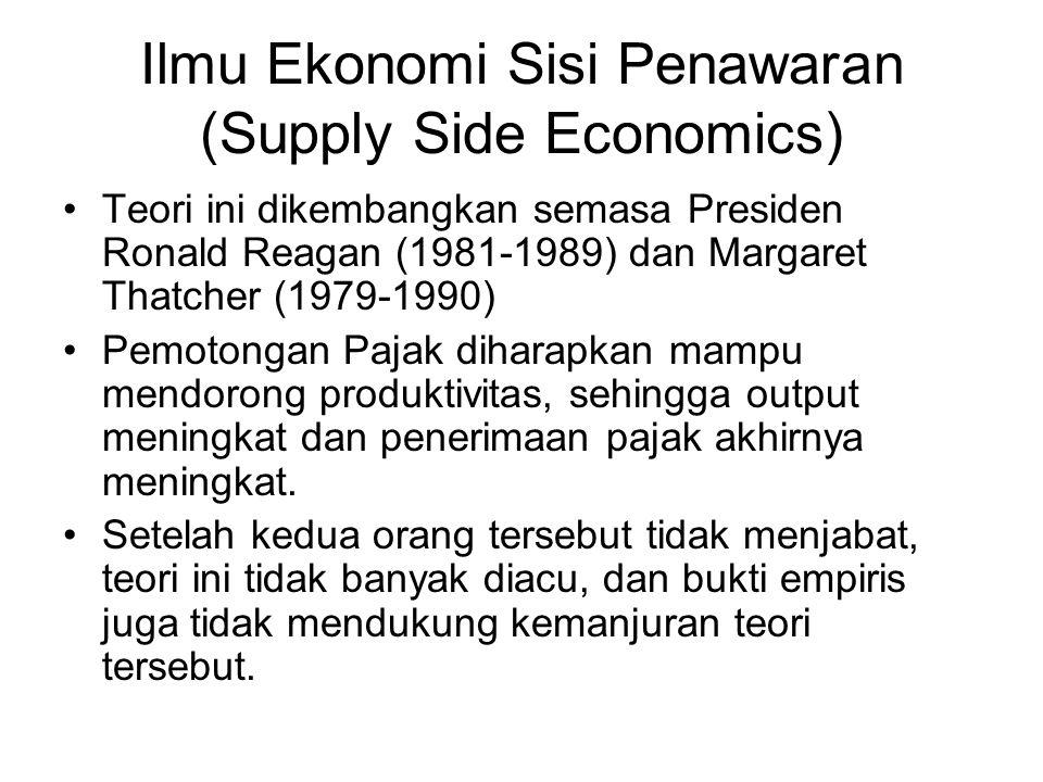 Ilmu Ekonomi Sisi Penawaran (Supply Side Economics) Teori ini dikembangkan semasa Presiden Ronald Reagan (1981-1989) dan Margaret Thatcher (1979-1990)