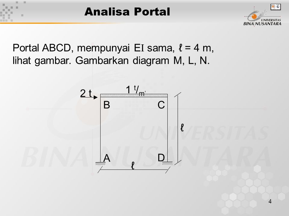 4 Analisa Portal Contoh: ℓ ℓ A B D C 1 t / m' 2 t Portal ABCD, mempunyai E I sama, ℓ = 4 m, lihat gambar. Gambarkan diagram M, L, N.