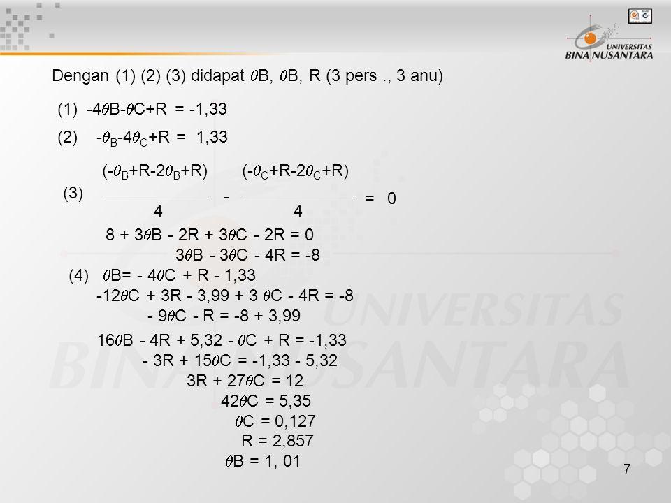 7 Dengan (1) (2) (3) didapat  B,  B, R (3 pers., 3 anu) (1) -4  B-  C+R = -1,33 (2) -  B -4  C +R = 1,33 (-  B +R-2  B +R) 4 (-  C +R-2  C +