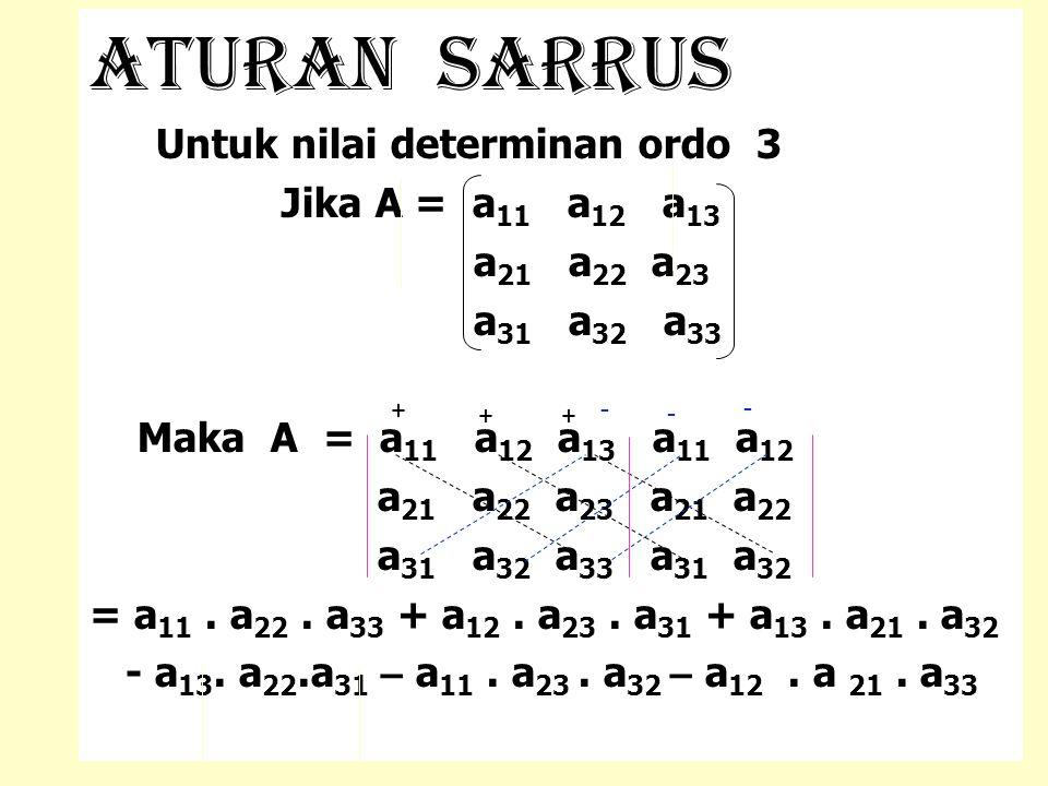 Aturan sarrus Untuk nilai determinan ordo 3 Jika A = a 11 a 12 a 13 a 21 a 22 a 23 a 31 a 32 a 33 Maka A = a 11 a 12 a 13 a 11 a 12 a 21 a 22 a 23 a 2