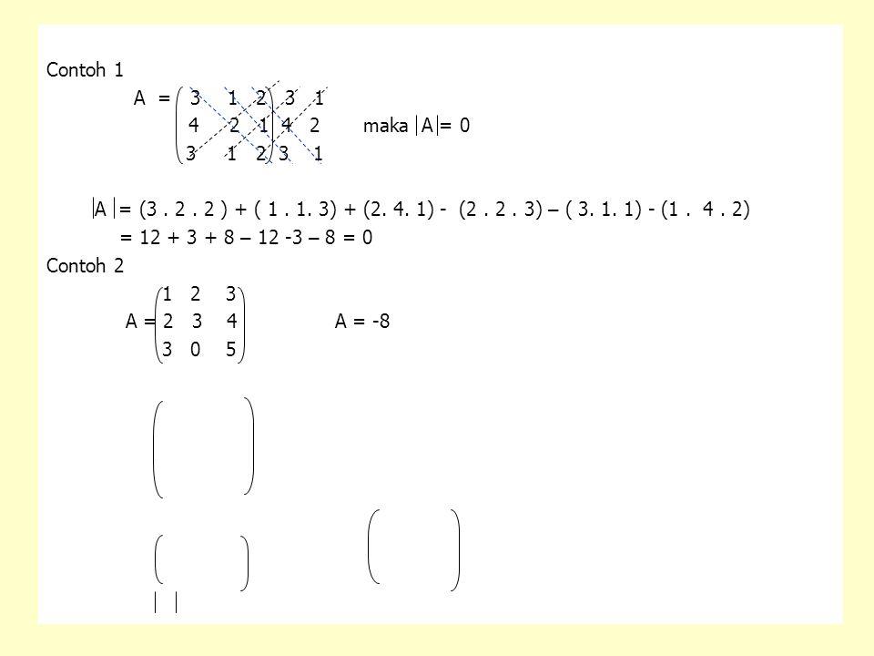Contoh 1 A = 3 1 2 3 1 4 2 1 4 2 maka A = 0 3 1 2 3 1 A = (3. 2. 2 ) + ( 1. 1. 3) + (2. 4. 1) - (2. 2. 3) – ( 3. 1. 1) - (1. 4. 2) = 12 + 3 + 8 – 12 -