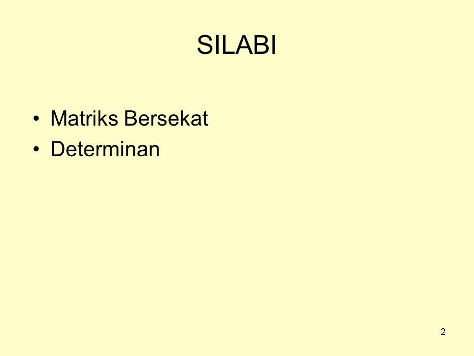 SILABI Matriks Bersekat Determinan 2