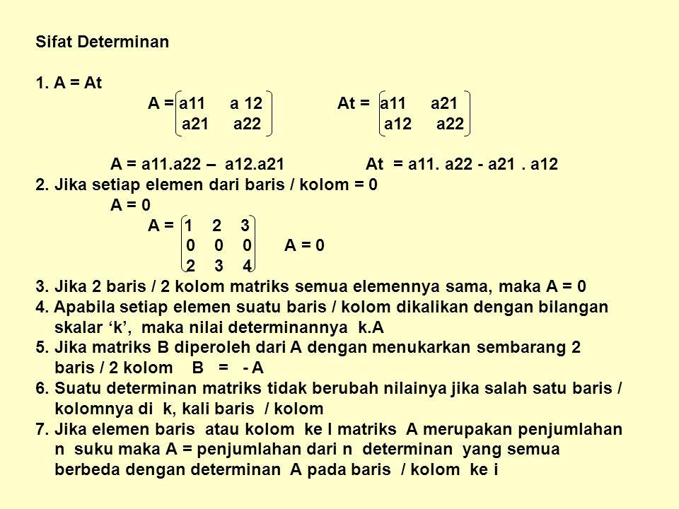 Sifat Determinan 1. A = At A = a11 a 12 At = a11 a21 a21 a22 a12 a22 A = a11.a22 – a12.a21 At = a11. a22 - a21. a12 2. Jika setiap elemen dari baris /