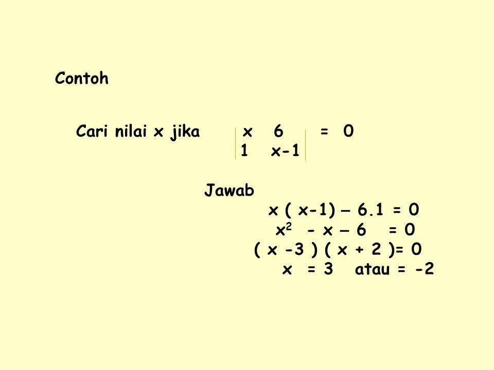 Contoh Cari nilai x jika x 6 = 0 1 x-1 Jawab x ( x-1) – 6.1 = 0 x 2 - x – 6 = 0 ( x -3 ) ( x + 2 )= 0 x = 3 atau = -2