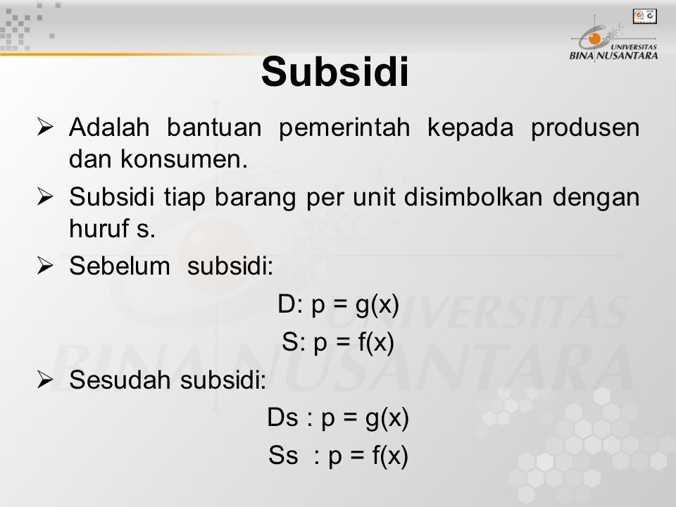 Subsidi  Adalah bantuan pemerintah kepada produsen dan konsumen.  Subsidi tiap barang per unit disimbolkan dengan huruf s.  Sebelum subsidi: D: p =