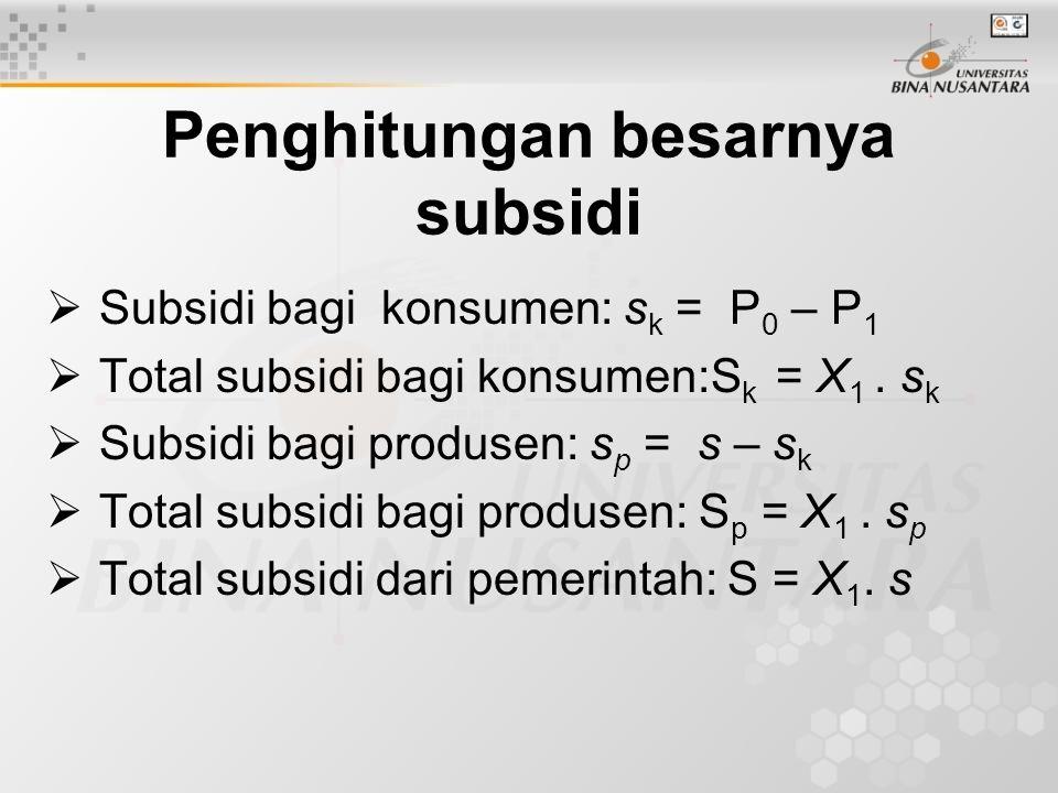 Penghitungan besarnya subsidi  Subsidi bagi konsumen: s k = P 0 – P 1  Total subsidi bagi konsumen:S k = X 1. s k  Subsidi bagi produsen: s p = s –