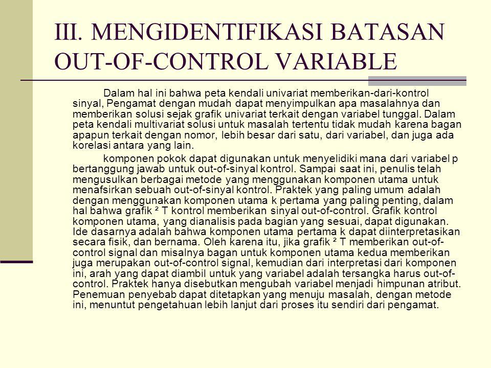 III. MENGIDENTIFIKASI BATASAN OUT-OF-CONTROL VARIABLE Dalam hal ini bahwa peta kendali univariat memberikan-dari-kontrol sinyal, Pengamat dengan mudah