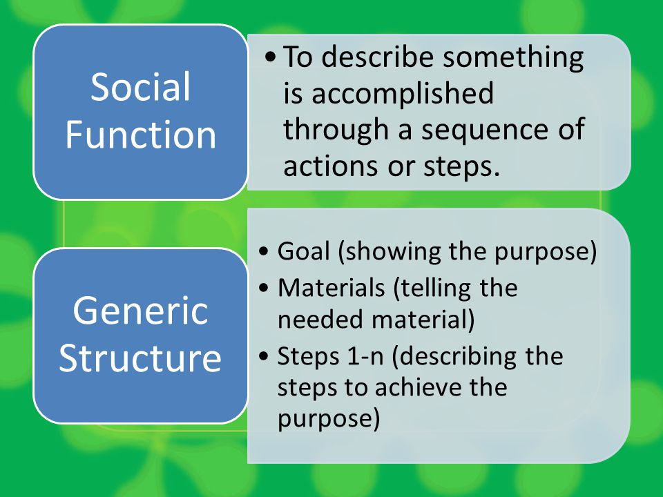 To describe something is accomplished through a sequence of actions or steps. Social Function Goal (showing the purpose) Materials (telling the needed