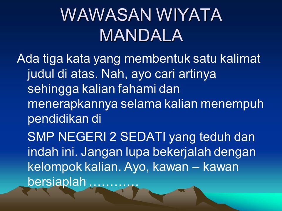 PERTANYAAN TENTANG WAWASAN WIYATA MANDALA 1.Apakah arti kata WAWASAN .