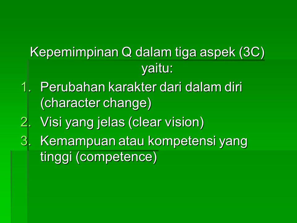 Kepemimpinan Q dalam tiga aspek (3C) yaitu: 1.Perubahan karakter dari dalam diri (character change) 2.Visi yang jelas (clear vision) 3.Kemampuan atau