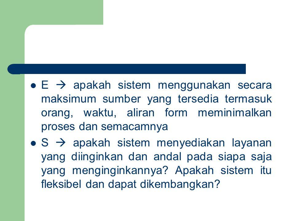 E  apakah sistem menggunakan secara maksimum sumber yang tersedia termasuk orang, waktu, aliran form meminimalkan proses dan semacamnya S  apakah si