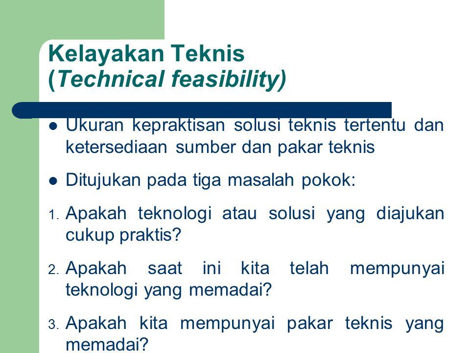 Kelayakan Teknis (Technical feasibility) Ukuran kepraktisan solusi teknis tertentu dan ketersediaan sumber dan pakar teknis Ditujukan pada tiga masala