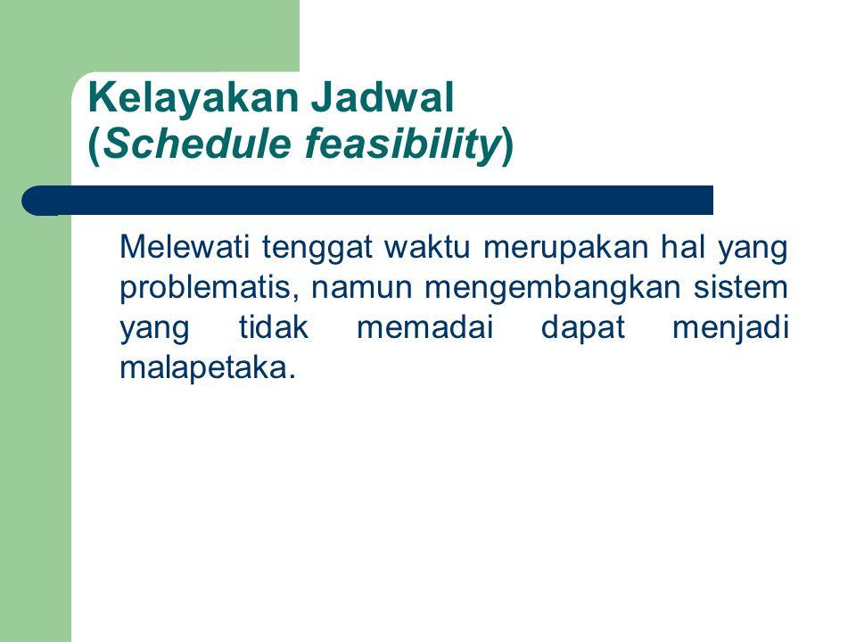 Kelayakan Jadwal (Schedule feasibility) Melewati tenggat waktu merupakan hal yang problematis, namun mengembangkan sistem yang tidak memadai dapat men