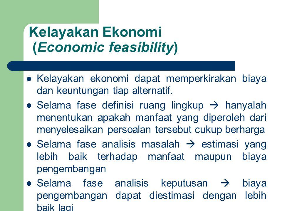 Kelayakan Ekonomi (Economic feasibility) Kelayakan ekonomi dapat memperkirakan biaya dan keuntungan tiap alternatif. Selama fase definisi ruang lingku