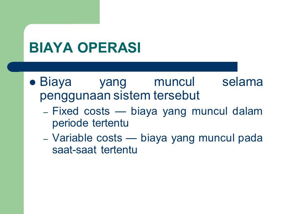 BIAYA OPERASI Biaya yang muncul selama penggunaan sistem tersebut – Fixed costs — biaya yang muncul dalam periode tertentu – Variable costs — biaya ya