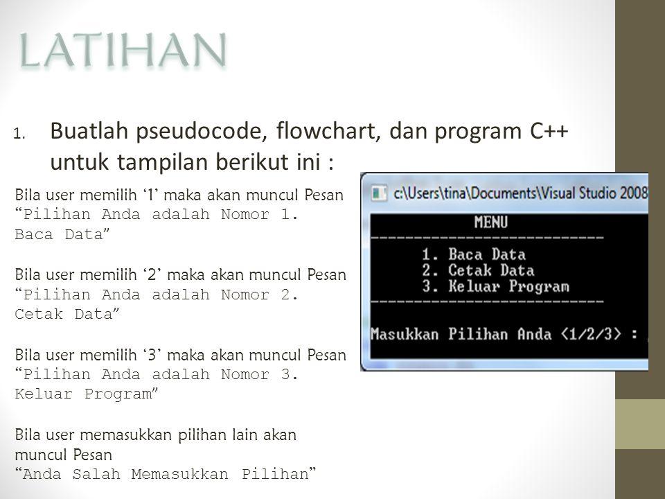 """1. Buatlah pseudocode, flowchart, dan program C++ untuk tampilan berikut ini : Bila user memilih '1' maka akan muncul Pesan """" Pilihan Anda adalah Nomo"""