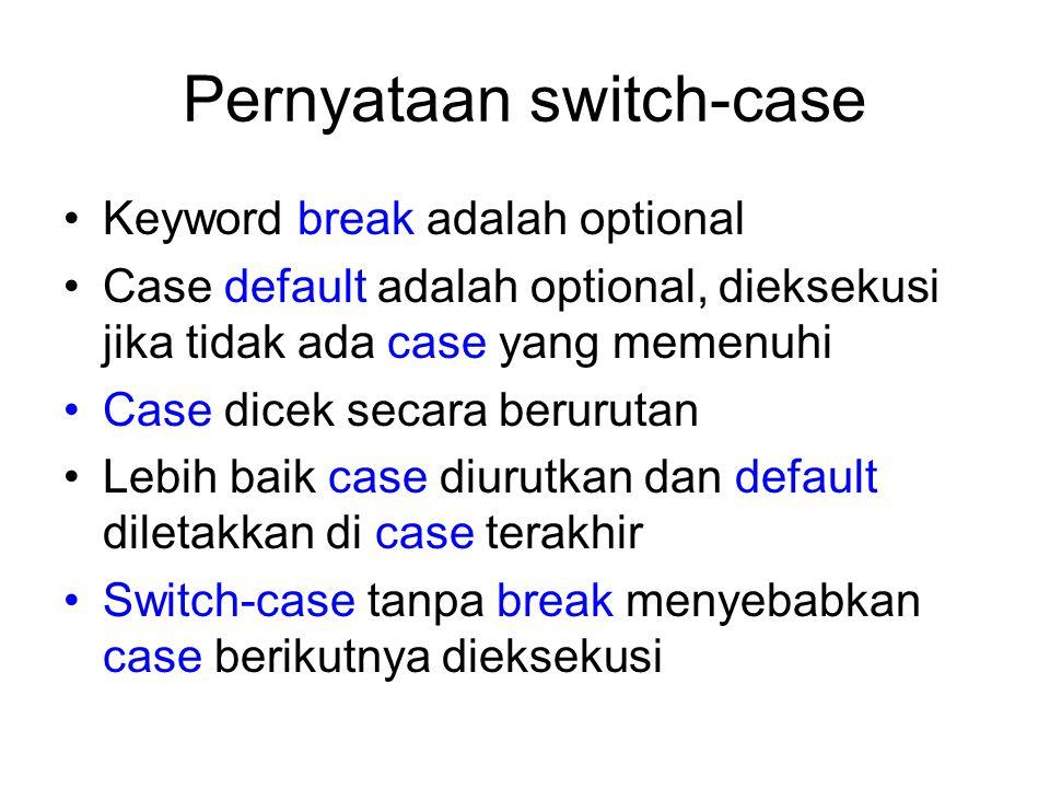 Pernyataan switch-case Keyword break adalah optional Case default adalah optional, dieksekusi jika tidak ada case yang memenuhi Case dicek secara beru