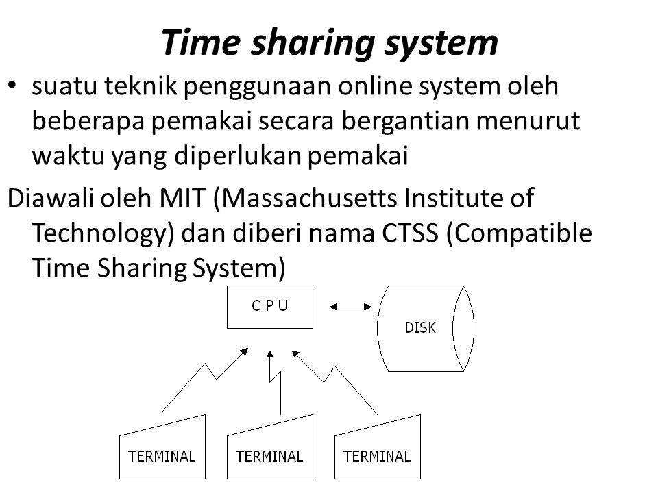 Time sharing system suatu teknik penggunaan online system oleh beberapa pemakai secara bergantian menurut waktu yang diperlukan pemakai Diawali oleh MIT (Massachusetts Institute of Technology) dan diberi nama CTSS (Compatible Time Sharing System)