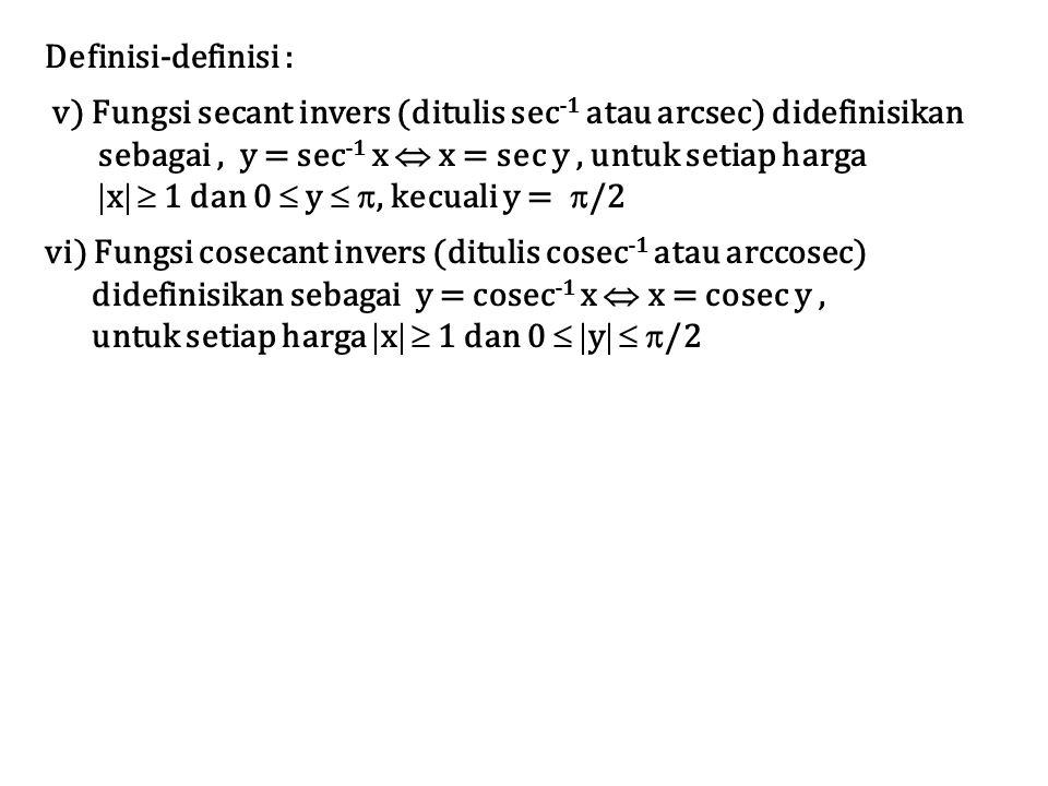 Definisi-definisi : v) Fungsi secant invers (ditulis sec -1 atau arcsec) didefinisikan sebagai, y = sec -1 x  x = sec y, untuk setiap harga  x   1