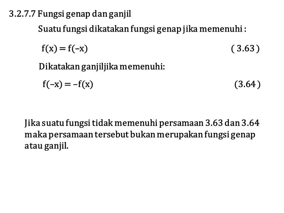 3.2.7.7 Fungsi genap dan ganjil Suatu fungsi dikatakan fungsi genap jika memenuhi : f(x) = f(–x) ( 3.63 ) Dikatakan ganjiljika memenuhi: f(–x) = –f(x)