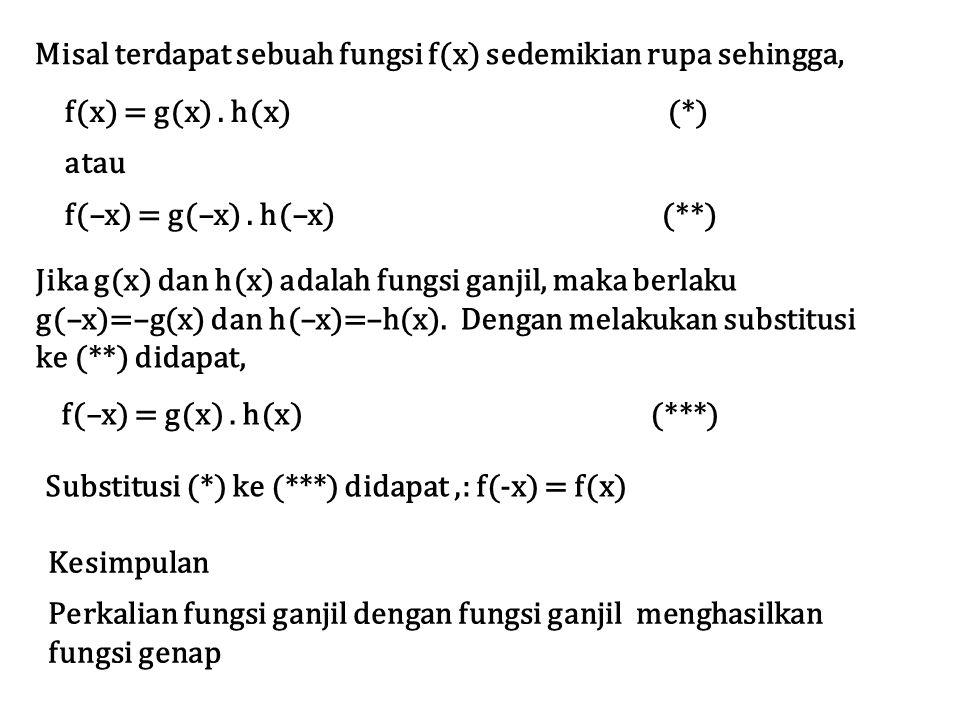 f(x) = g(x). h(x) (*) atau f(–x) = g(–x). h(–x) (**) Misal terdapat sebuah fungsi f(x) sedemikian rupa sehingga, Jika g(x) dan h(x) adalah fungsi ganj