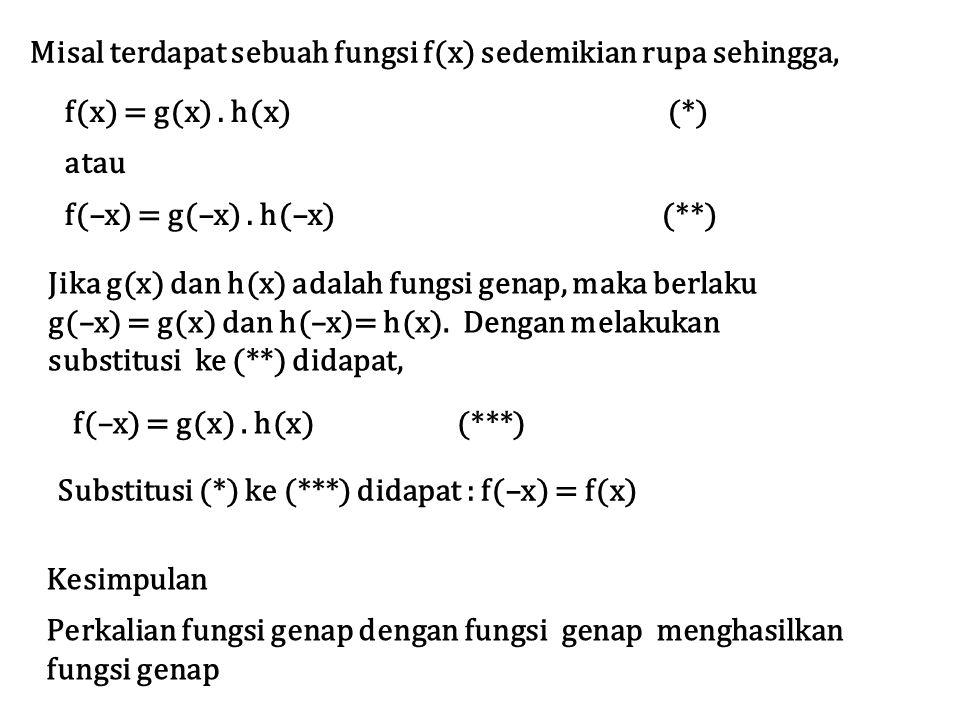 Misal terdapat sebuah fungsi f(x) sedemikian rupa sehingga, f(x) = g(x). h(x) (*) atau f(–x) = g(–x). h(–x) (**) Jika g(x) dan h(x) adalah fungsi gena