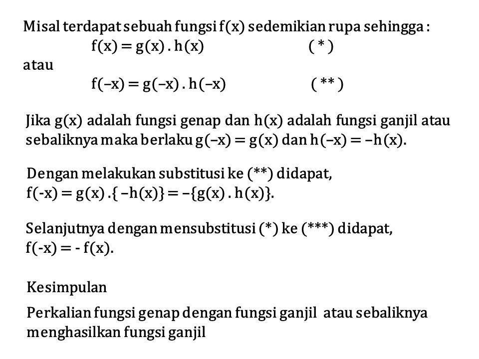 Misal terdapat sebuah fungsi f(x) sedemikian rupa sehingga : f(x) = g(x). h(x) ( * ) atau f(–x) = g(–x). h(–x)( ** ) Jika g(x) adalah fungsi genap dan