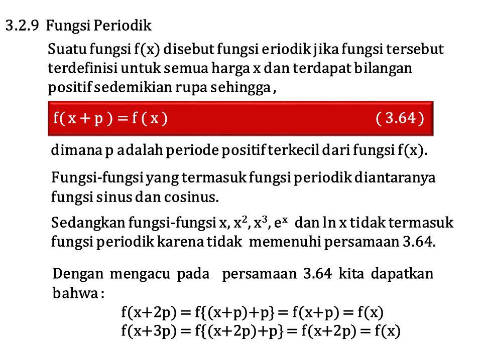 f( x + p ) = f ( x ) ( 3.64 ) 3.2.9 Fungsi Periodik Suatu fungsi f(x) disebut fungsi eriodik jika fungsi tersebut terdefinisi untuk semua harga x dan