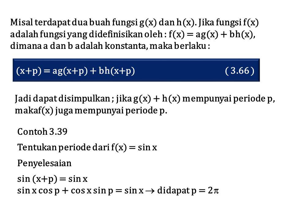 Misal terdapat dua buah fungsi g(x) dan h(x). Jika fungsi f(x) adalah fungsi yang didefinisikan oleh : f(x) = ag(x) + bh(x), dimana a dan b adalah kon