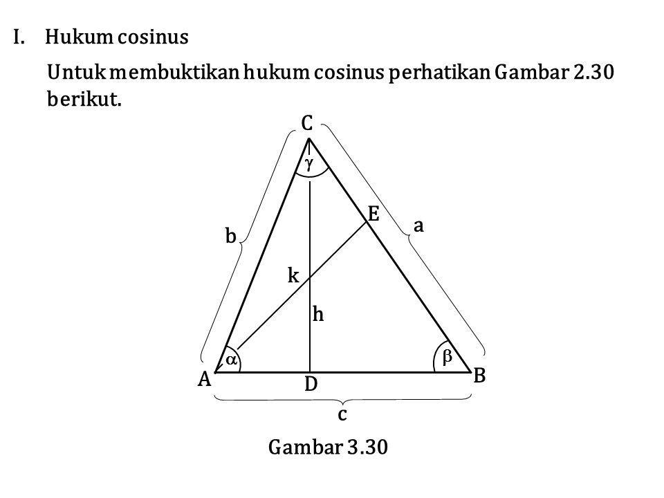 I. Hukum cosinus Untuk membuktikan hukum cosinus perhatikan Gambar 2.30 berikut.    a b c A B C E D k h Gambar 3.30