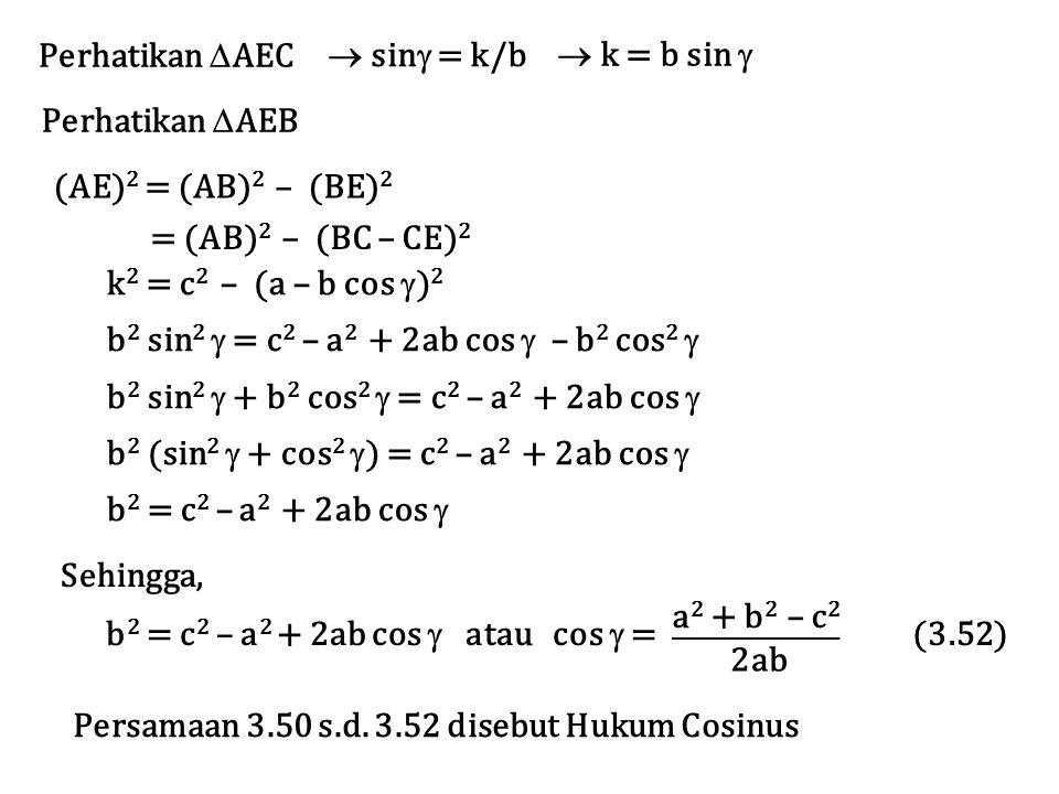 Perhatikan  AEC  sin  = k/b  k = b sin  Perhatikan  AEB = (AB) 2 – (BC – CE) 2 k 2 = c 2 – (a – b cos  ) 2 b 2 sin 2  = c 2 – a 2 + 2ab cos 