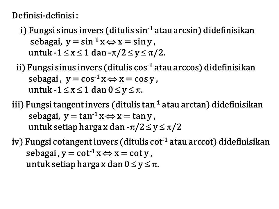 Definisi-definisi : i) Fungsi sinus invers (ditulis sin -1 atau arcsin) didefinisikan sebagai, y = sin -1 x  x = sin y, untuk -1  x  1 dan -  /2 