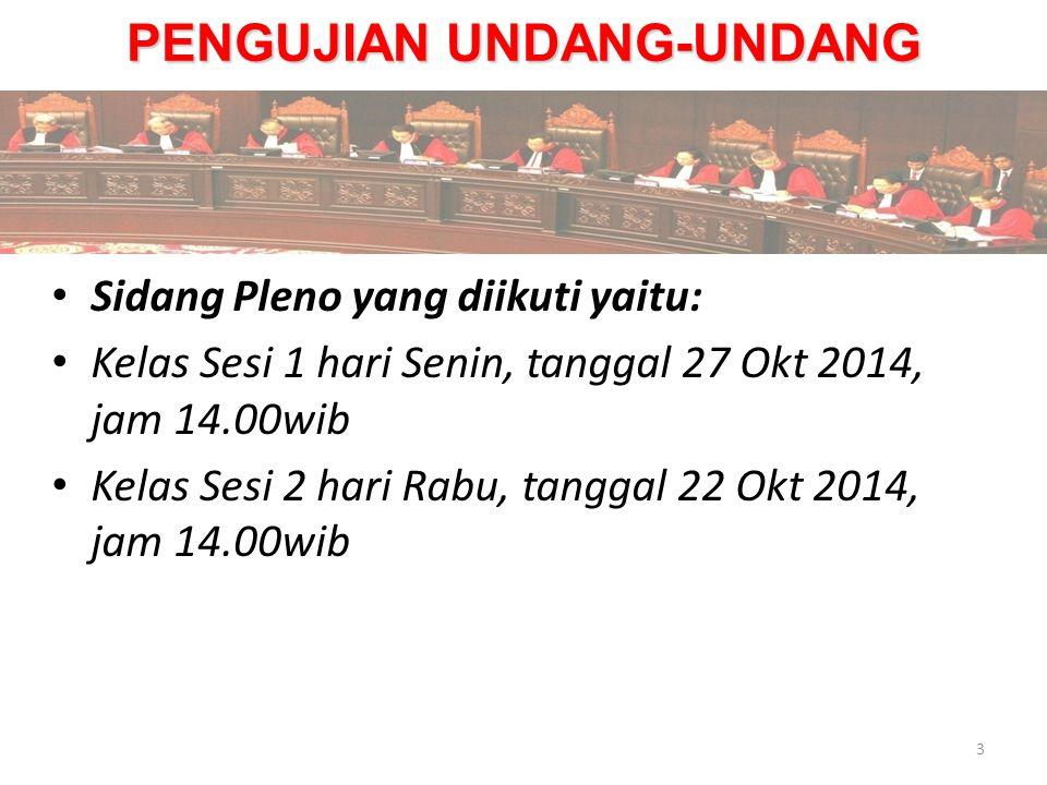 PENGUJIAN UNDANG-UNDANG Sidang Pleno yang diikuti yaitu: Kelas Sesi 1 hari Senin, tanggal 27 Okt 2014, jam 14.00wib Kelas Sesi 2 hari Rabu, tanggal 22