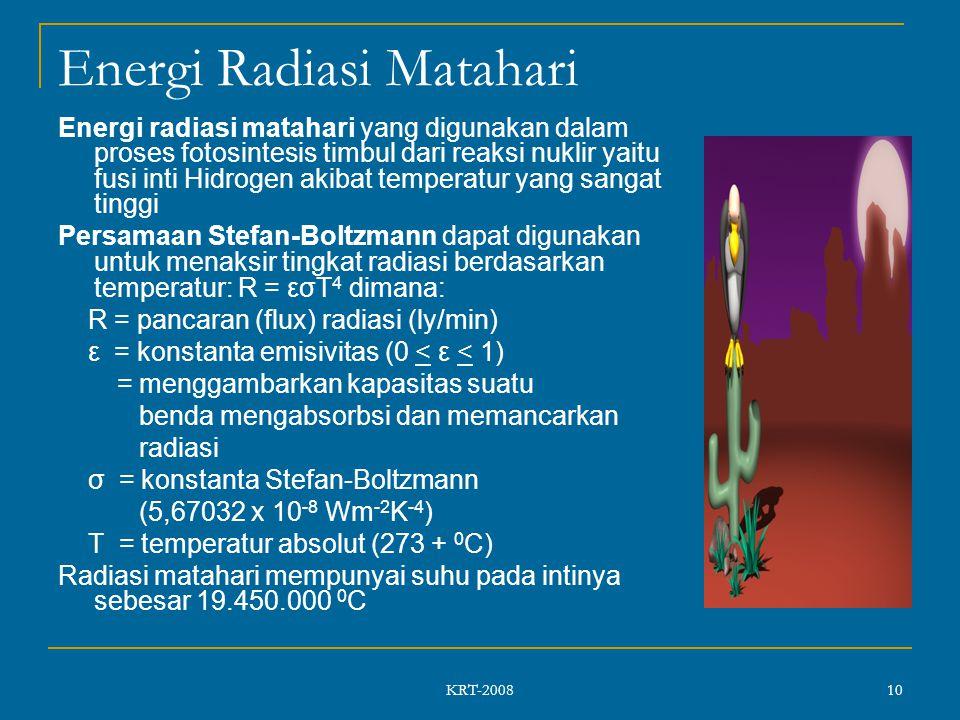 KRT-2008 10 Energi Radiasi Matahari Energi radiasi matahari yang digunakan dalam proses fotosintesis timbul dari reaksi nuklir yaitu fusi inti Hidrogen akibat temperatur yang sangat tinggi Persamaan Stefan-Boltzmann dapat digunakan untuk menaksir tingkat radiasi berdasarkan temperatur: R = εσT 4 dimana: R = pancaran (flux) radiasi (ly/min) ε = konstanta emisivitas (0 < ε < 1) = menggambarkan kapasitas suatu benda mengabsorbsi dan memancarkan radiasi σ = konstanta Stefan-Boltzmann (5,67032 x 10 -8 Wm -2 K -4 ) T = temperatur absolut (273 + 0 C) Radiasi matahari mempunyai suhu pada intinya sebesar 19.450.000 0 C